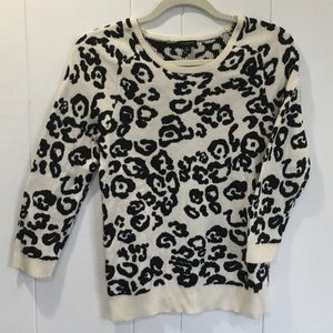 Ann Taylor leopard print black and white sweater